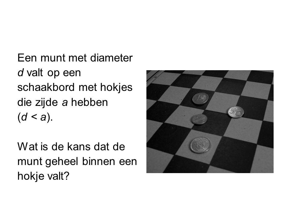 Een munt met diameter d valt op een. schaakbord met hokjes. die zijde a hebben. (d < a). Wat is de kans dat de.