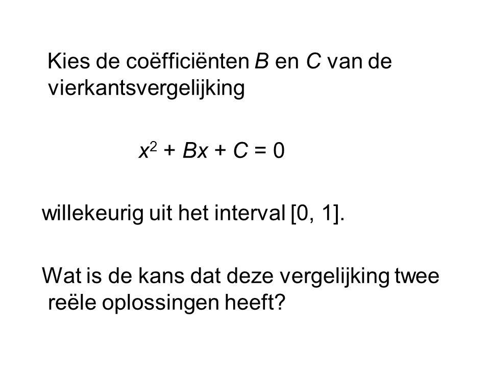 Kies de coëfficiënten B en C van de vierkantsvergelijking