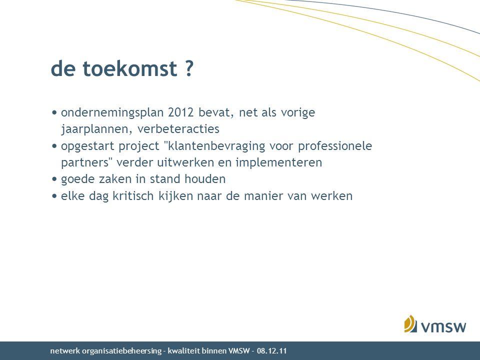 de toekomst ondernemingsplan 2012 bevat, net als vorige jaarplannen, verbeteracties.