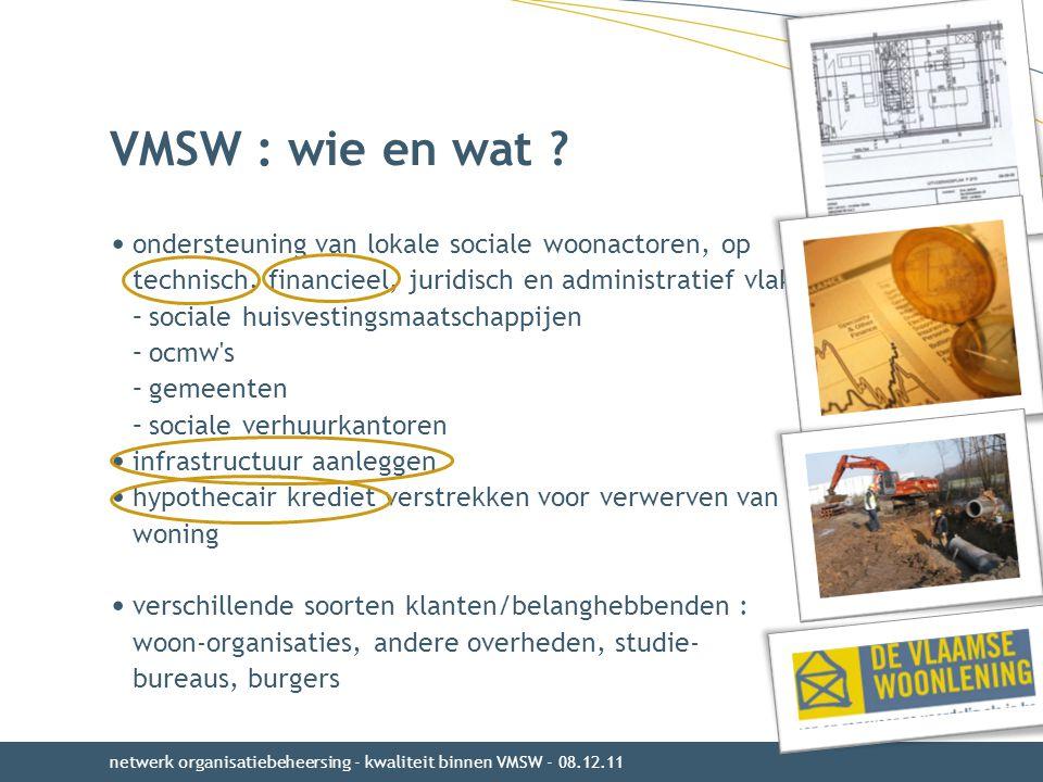 VMSW : wie en wat ondersteuning van lokale sociale woonactoren, op technisch, financieel, juridisch en administratief vlak :