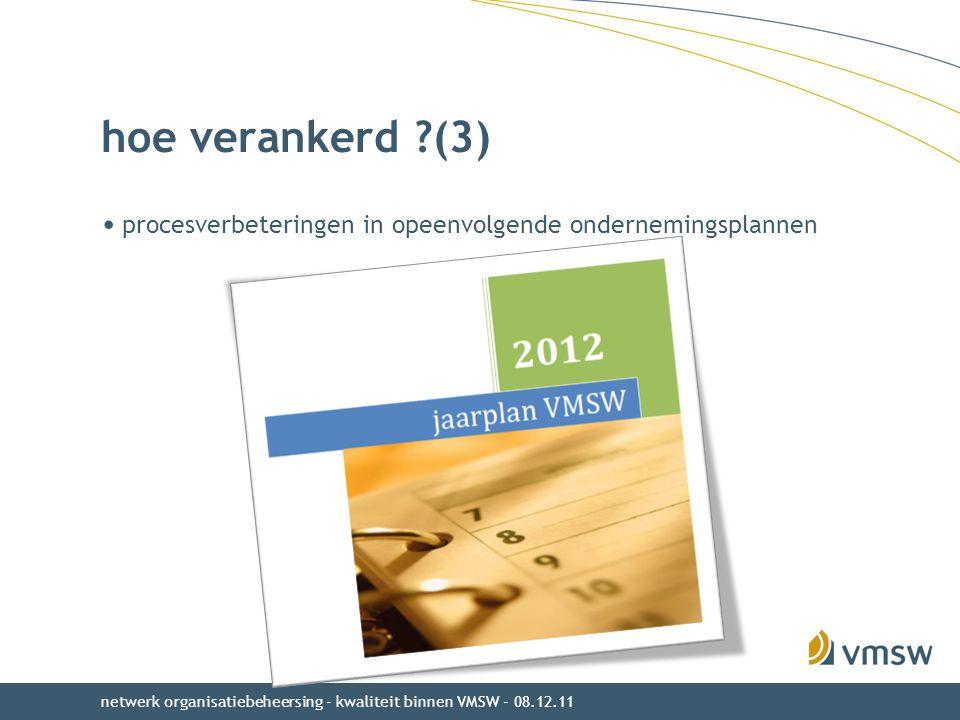 hoe verankerd (3) procesverbeteringen in opeenvolgende ondernemingsplannen.