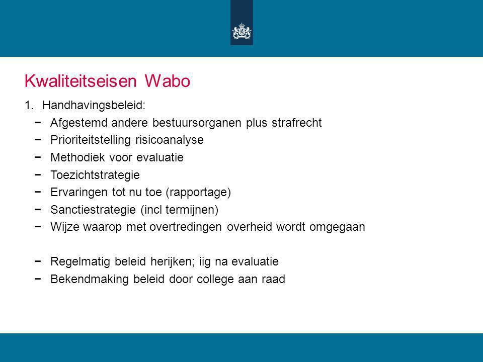 Kwaliteitseisen Wabo Handhavingsbeleid: