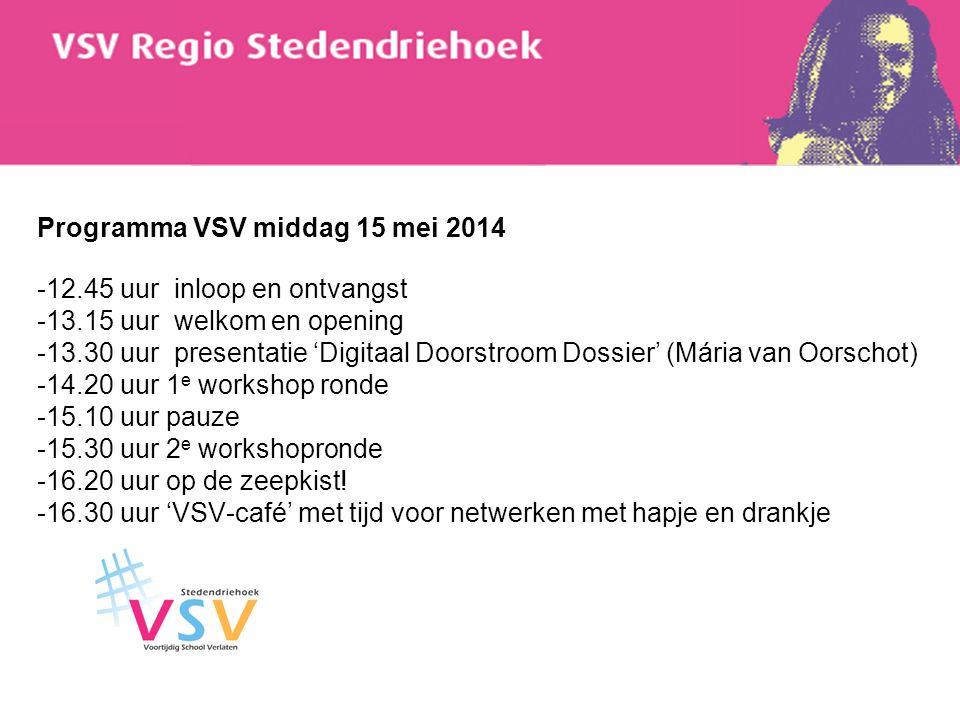Programma VSV middag 15 mei 2014 -12. 45 uur inloop en ontvangst -13