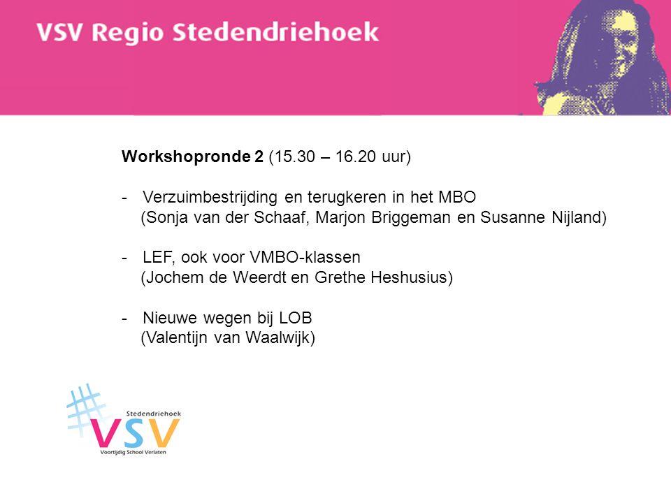 Workshopronde 2 (15.30 – 16.20 uur) Verzuimbestrijding en terugkeren in het MBO. (Sonja van der Schaaf, Marjon Briggeman en Susanne Nijland)