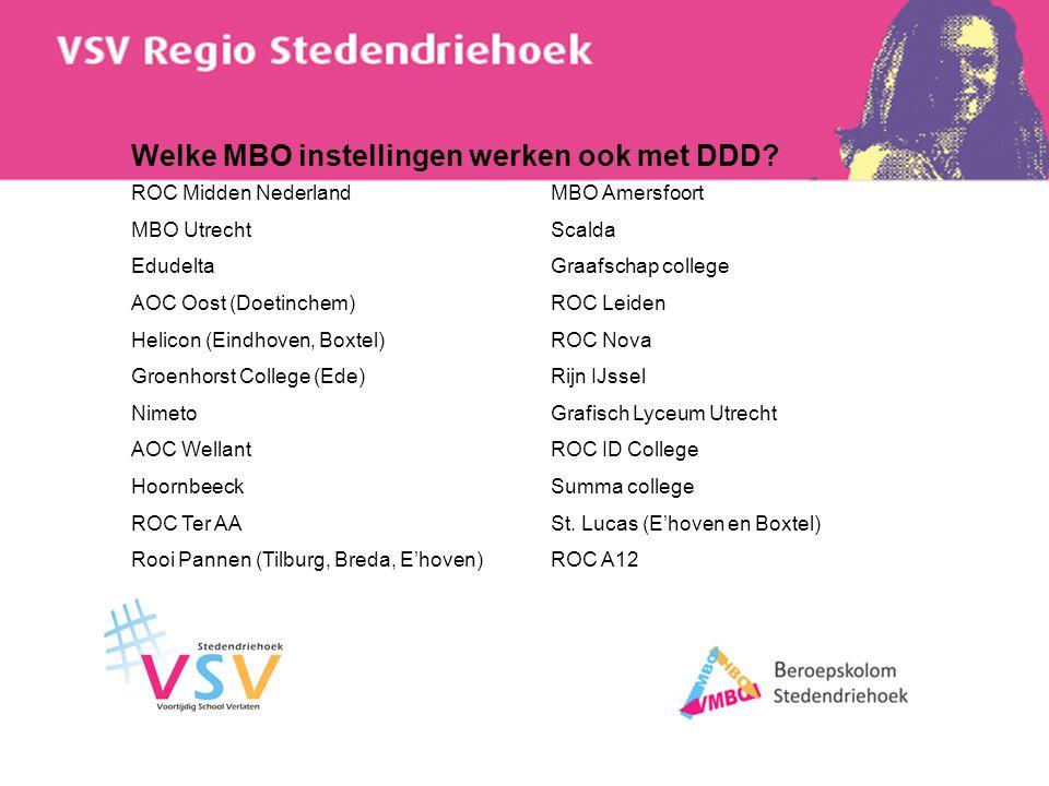 Welke MBO instellingen werken ook met DDD