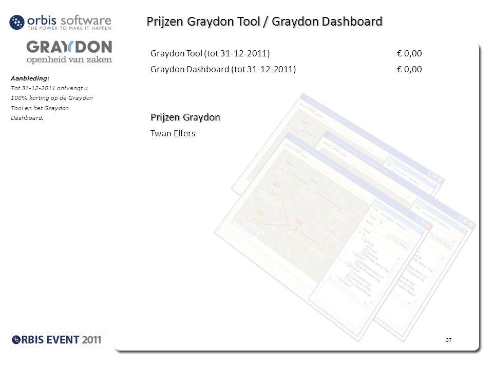 Prijzen Graydon Tool / Graydon Dashboard