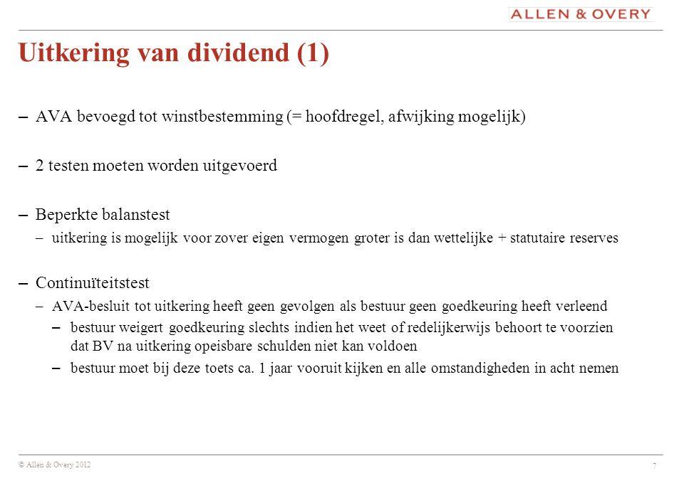 Uitkering van dividend (1)