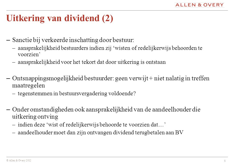 Uitkering van dividend (2)