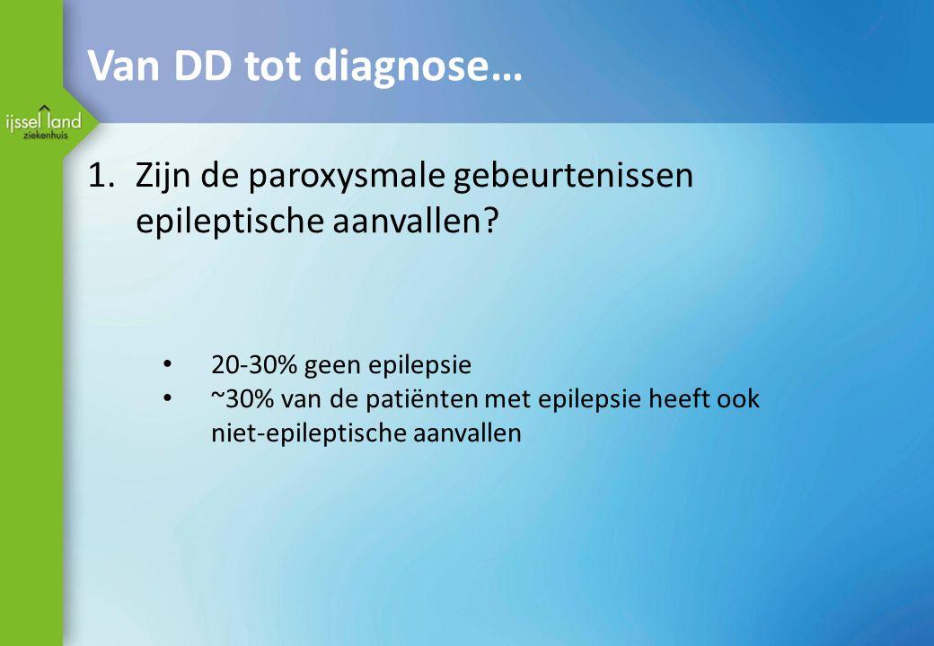 Van DD tot diagnose… Zijn de paroxysmale gebeurtenissen epileptische aanvallen 20-30% geen epilepsie.