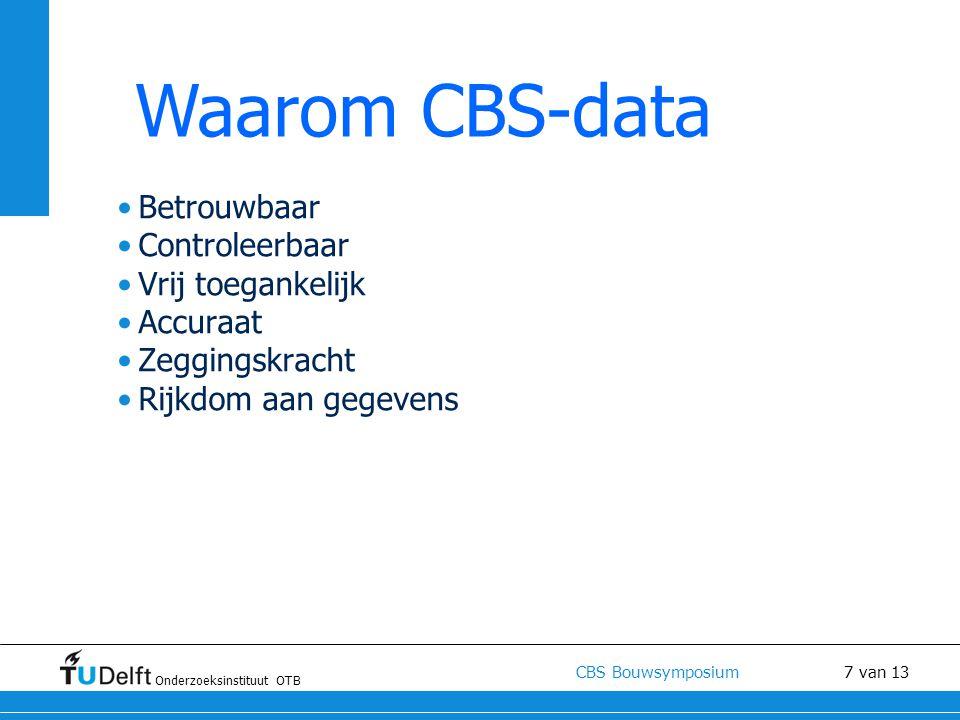 Waarom CBS-data Betrouwbaar Controleerbaar Vrij toegankelijk Accuraat