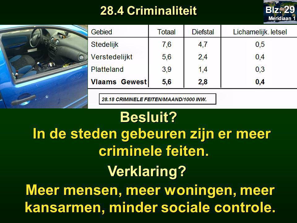 In de steden gebeuren zijn er meer criminele feiten.
