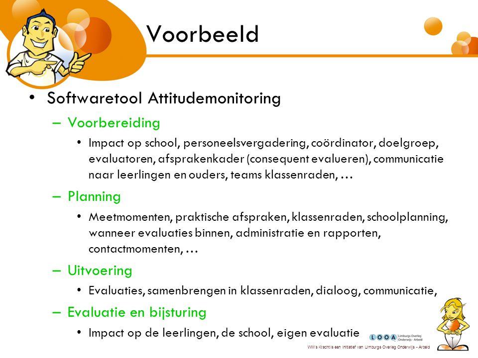 Voorbeeld Softwaretool Attitudemonitoring Voorbereiding Planning