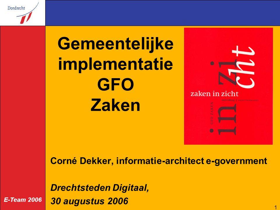 Gemeentelijke implementatie GFO Zaken