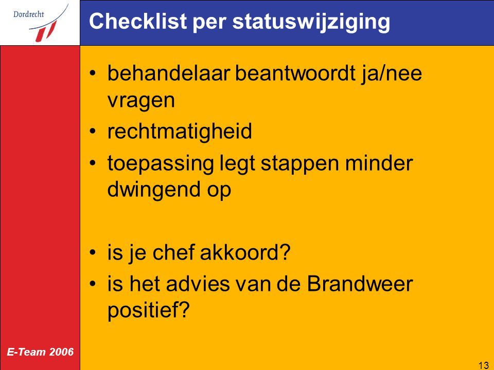Checklist per statuswijziging