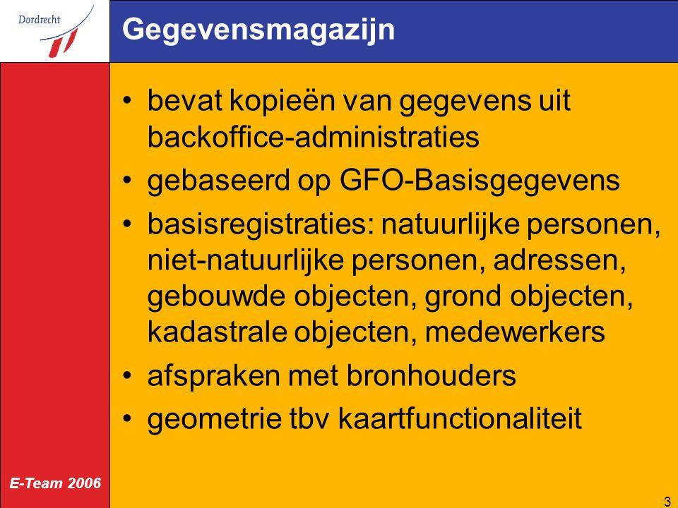 Gegevensmagazijn bevat kopieën van gegevens uit backoffice-administraties. gebaseerd op GFO-Basisgegevens.