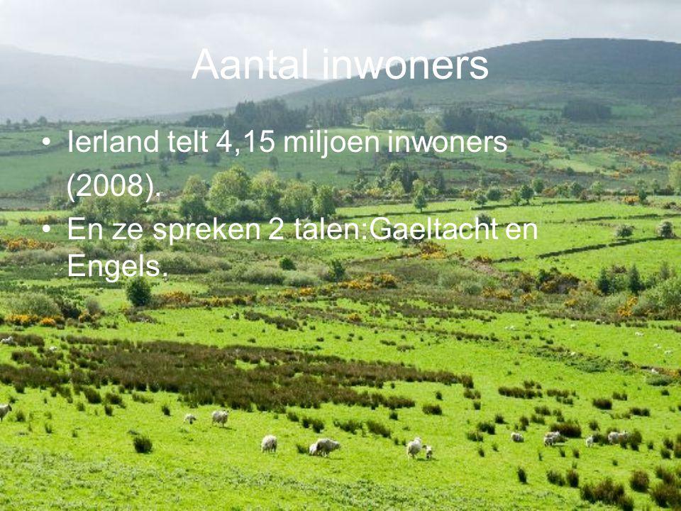 Aantal inwoners Ierland telt 4,15 miljoen inwoners (2008).