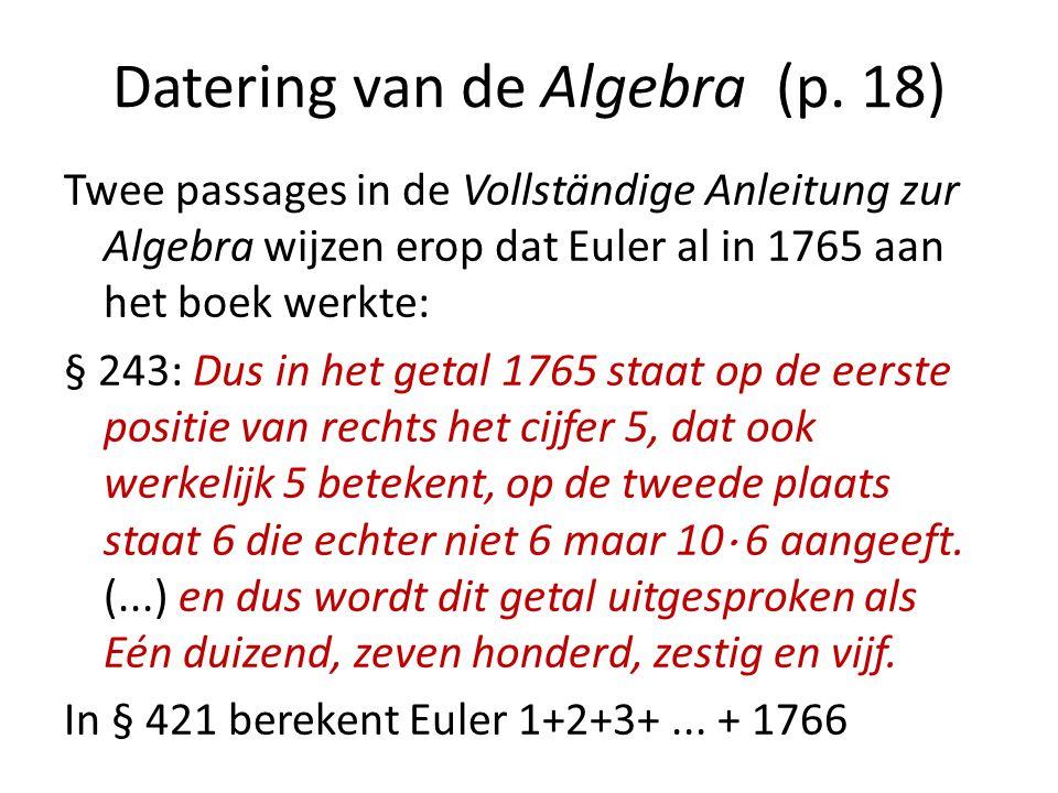 Datering van de Algebra (p. 18)