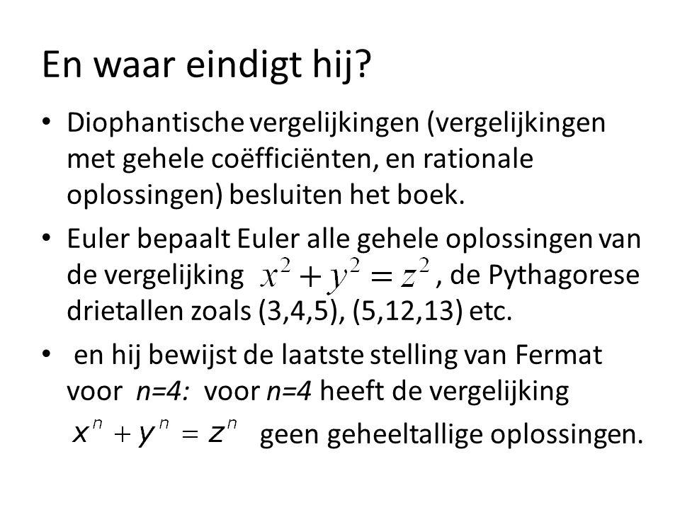 En waar eindigt hij Diophantische vergelijkingen (vergelijkingen met gehele coëfficiënten, en rationale oplossingen) besluiten het boek.