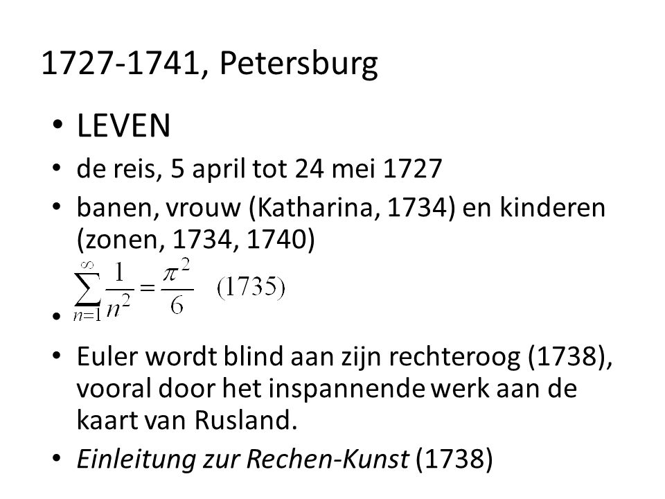 1727-1741, Petersburg LEVEN de reis, 5 april tot 24 mei 1727