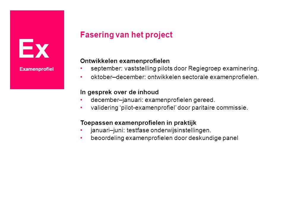 Ex Fasering van het project Ontwikkelen examenprofielen