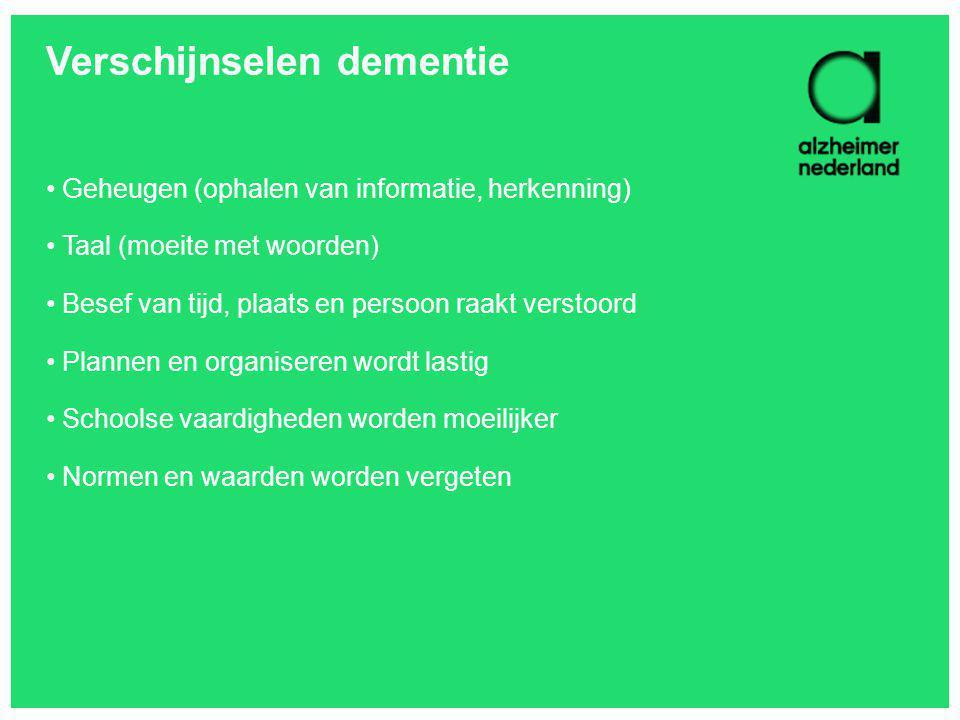 Verschijnselen dementie