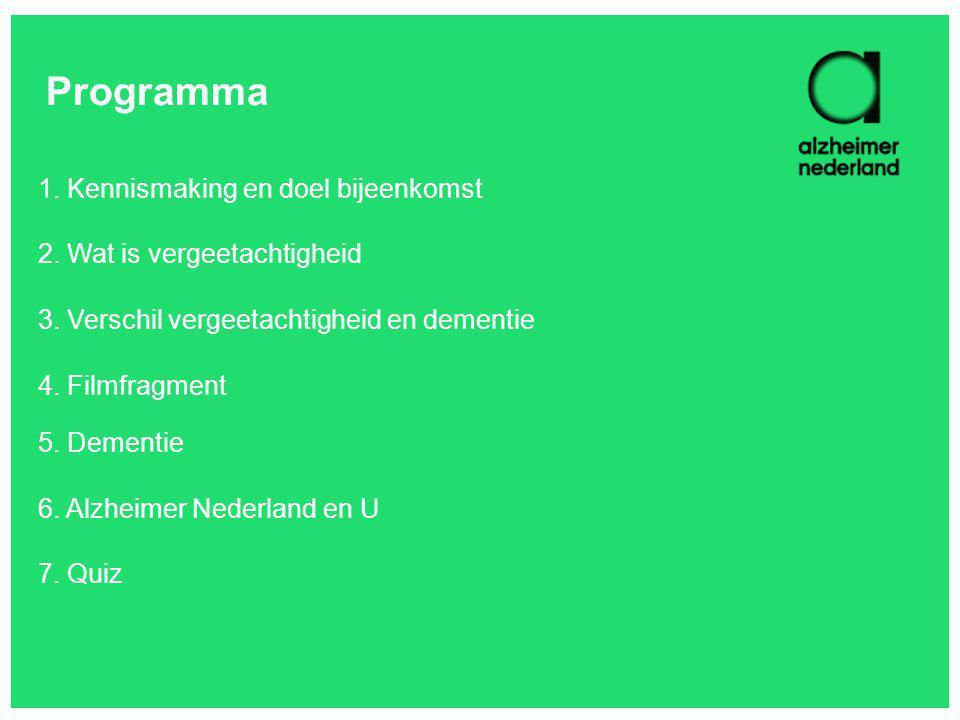 Programma 1. Kennismaking en doel bijeenkomst