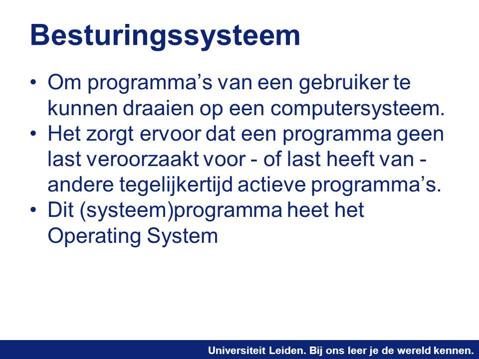 Besturingssysteem Om programma's van een gebruiker te kunnen draaien op een computersysteem.