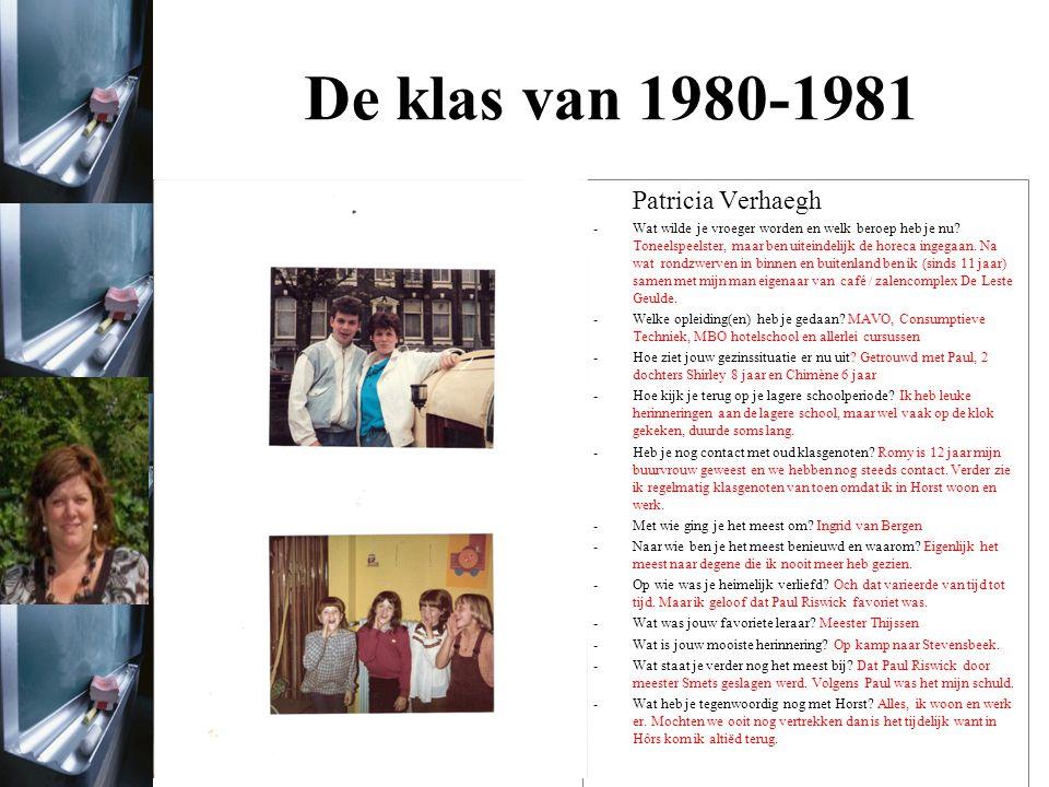 De klas van 1980-1981 Patricia Verhaegh
