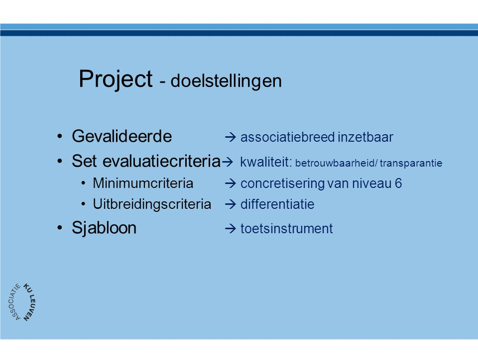 Project - doelstellingen