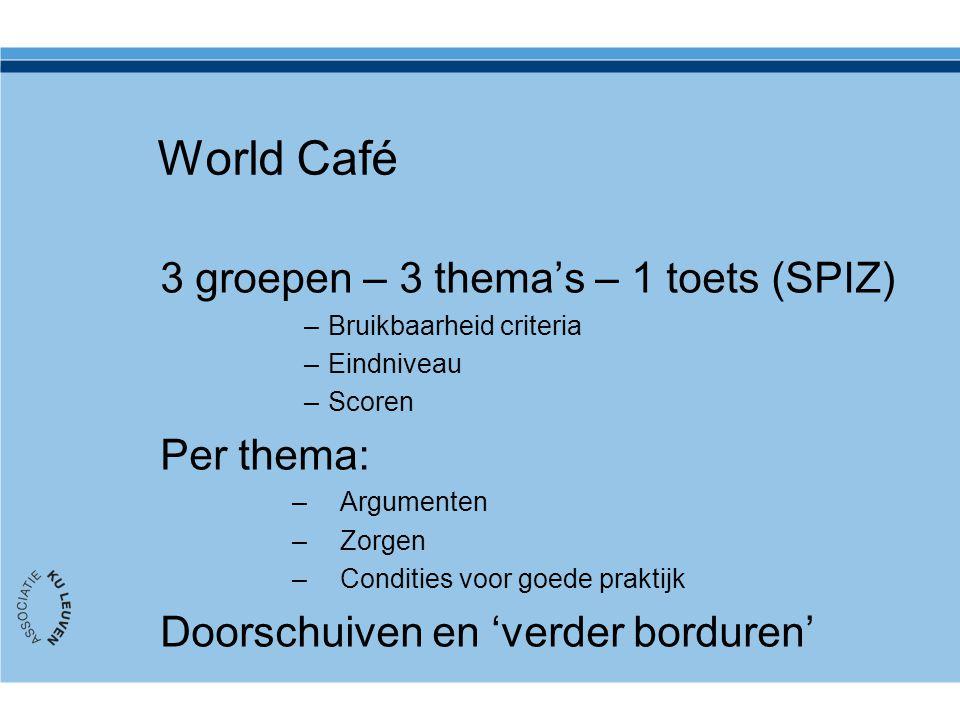 World Café 3 groepen – 3 thema's – 1 toets (SPIZ) Per thema: