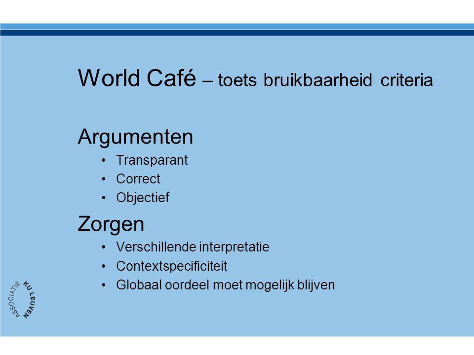 World Café – toets bruikbaarheid criteria