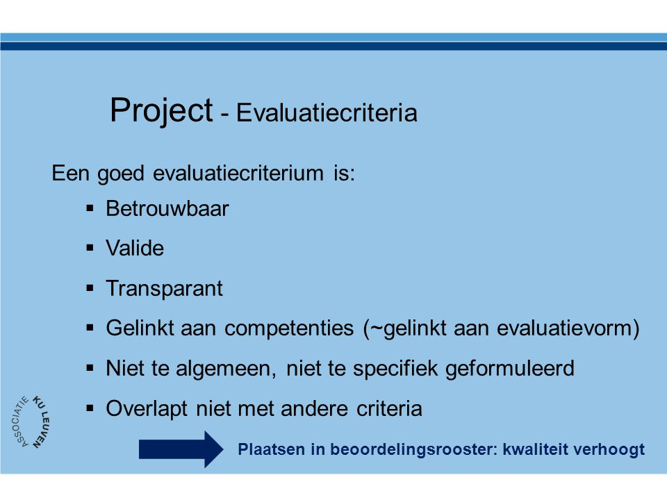 Project - Evaluatiecriteria