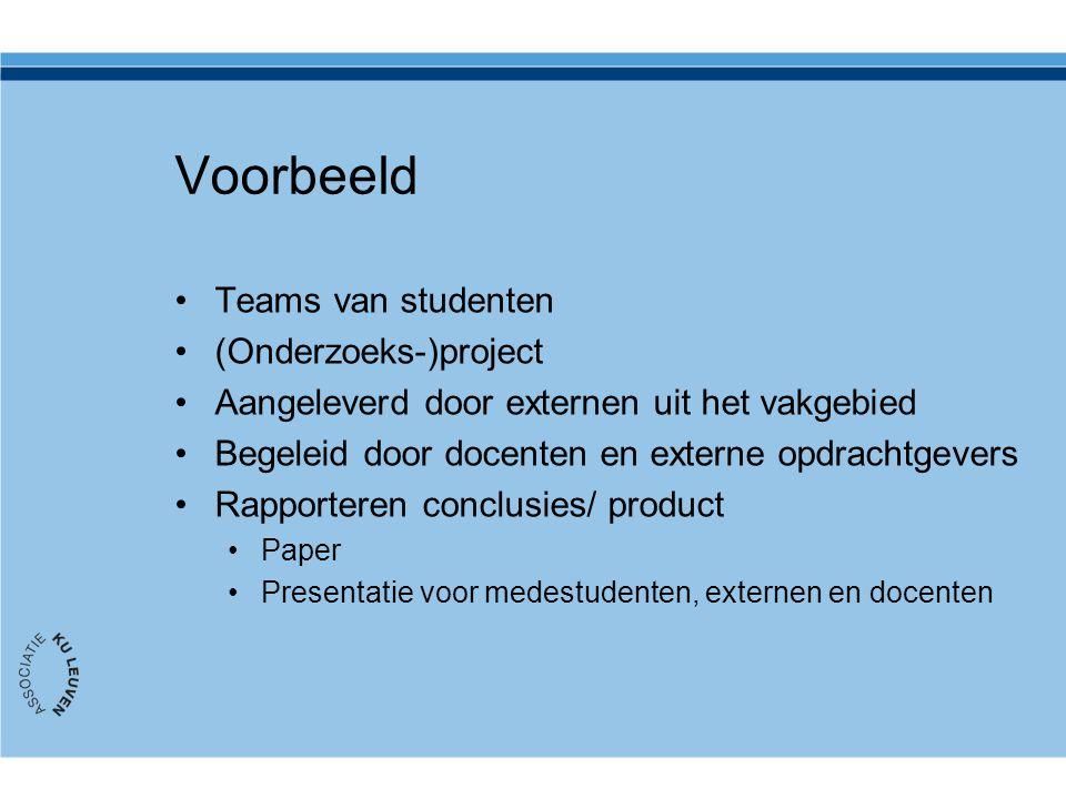 Voorbeeld Teams van studenten (Onderzoeks-)project