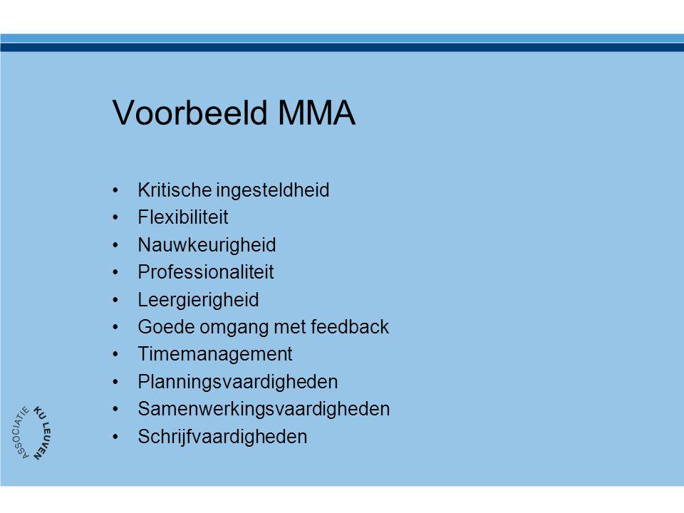 Voorbeeld MMA Kritische ingesteldheid Flexibiliteit Nauwkeurigheid