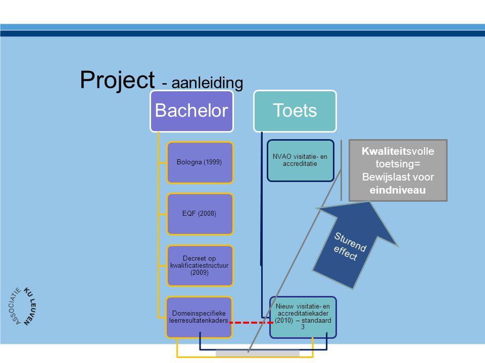 Project - aanleiding Bachelor Toets Kwaliteitsvolle toetsing=