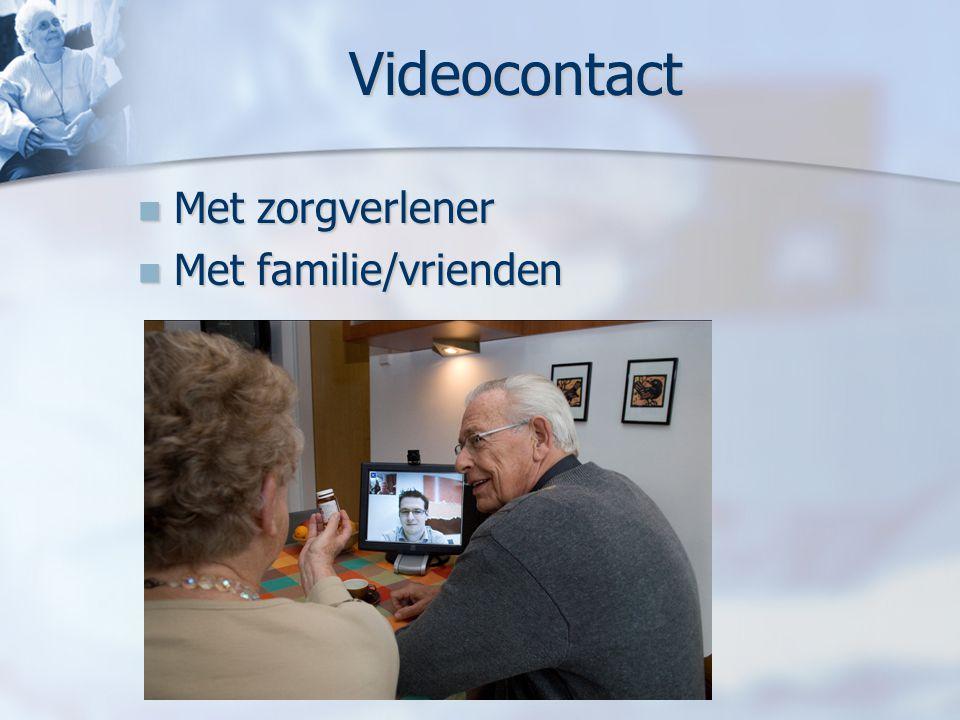 Videocontact Met zorgverlener Met familie/vrienden