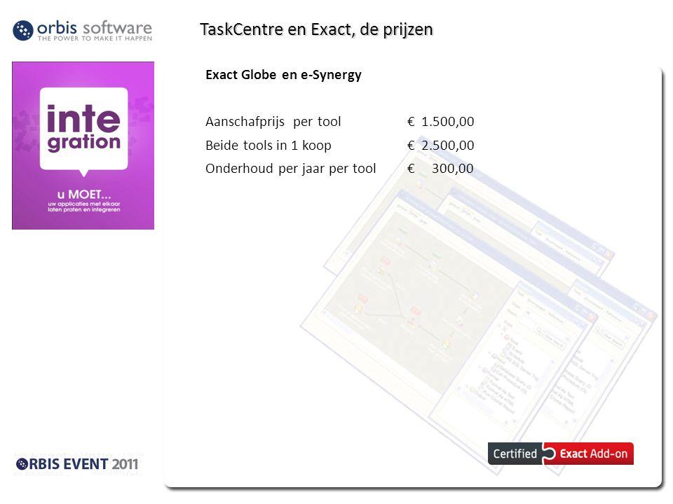 TaskCentre en Exact, de prijzen