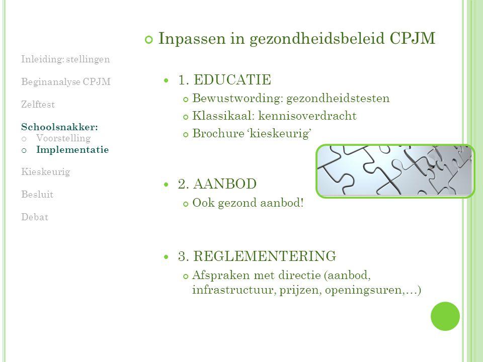Inpassen in gezondheidsbeleid CPJM