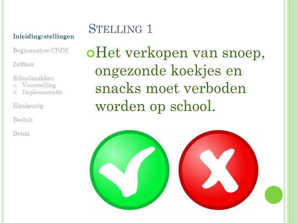 Stelling 1 Inleiding: stellingen. Beginanalyse CPJM. Zelftest. Schoolsnakker: Voorstelling. Implementatie.