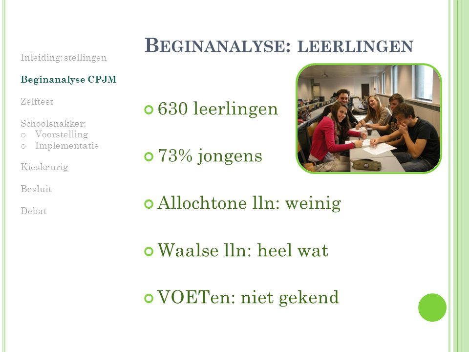 Beginanalyse: leerlingen
