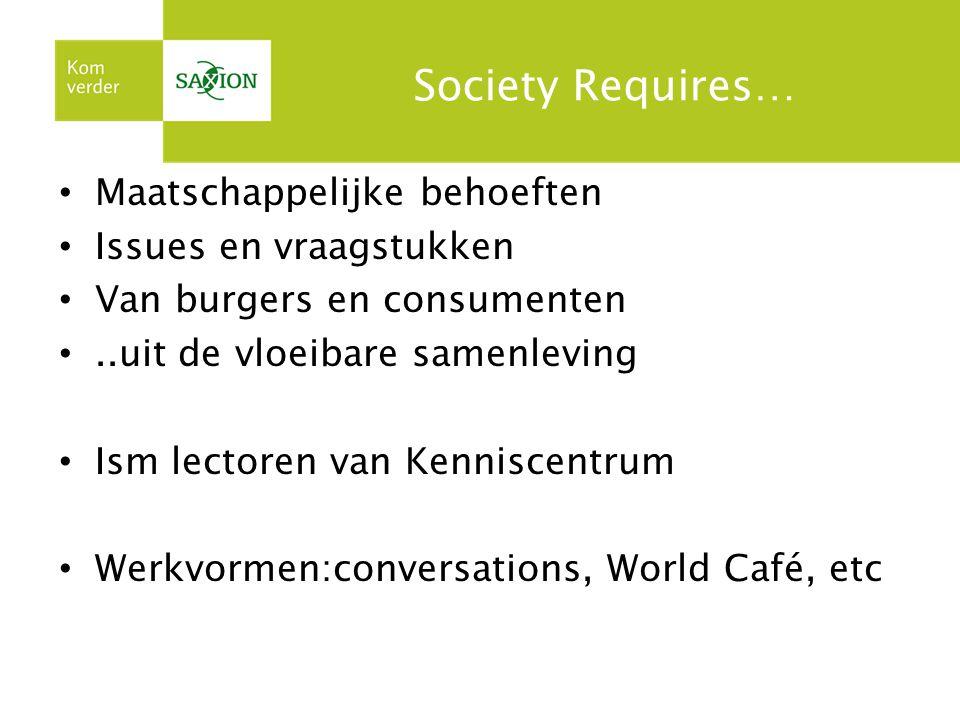 Society Requires… Maatschappelijke behoeften Issues en vraagstukken