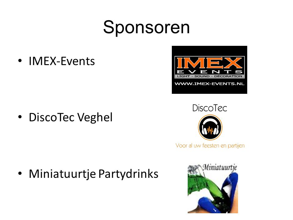Sponsoren IMEX-Events DiscoTec Veghel Miniatuurtje Partydrinks