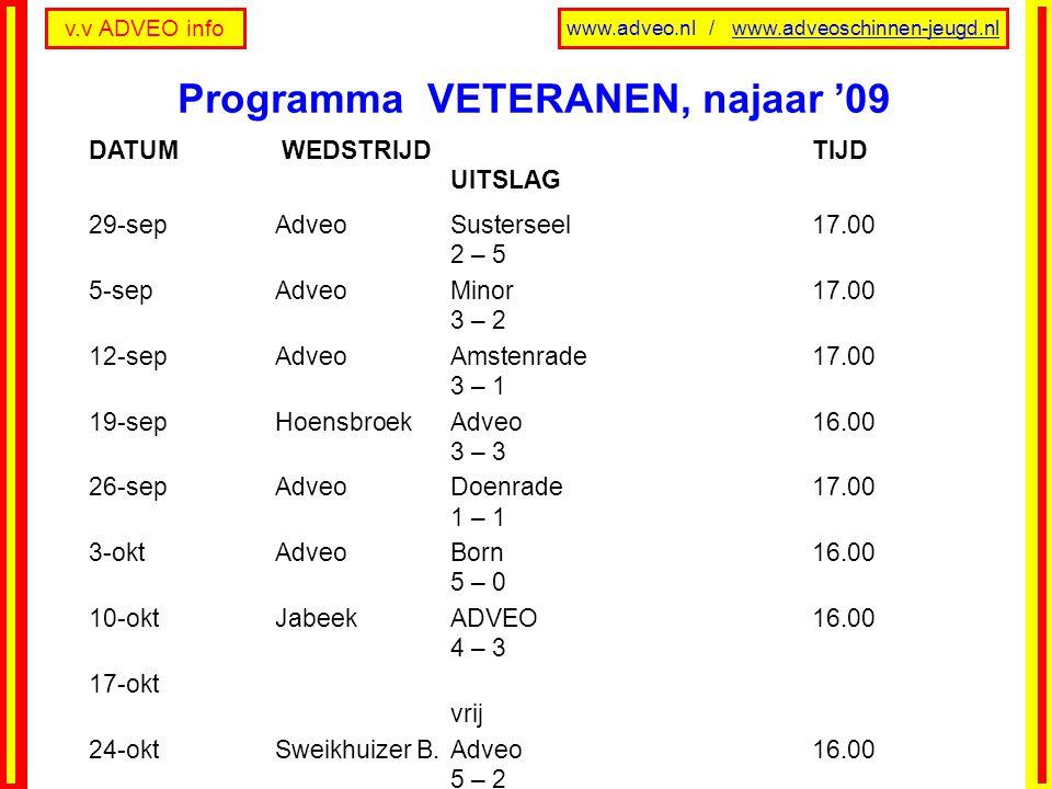 Programma VETERANEN, najaar '09