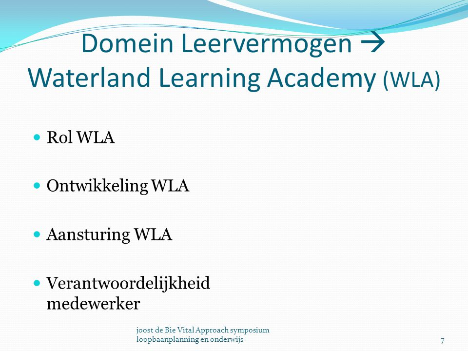 Domein Leervermogen  Waterland Learning Academy (WLA)