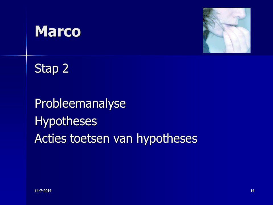 Marco Stap 2 Probleemanalyse Hypotheses Acties toetsen van hypotheses