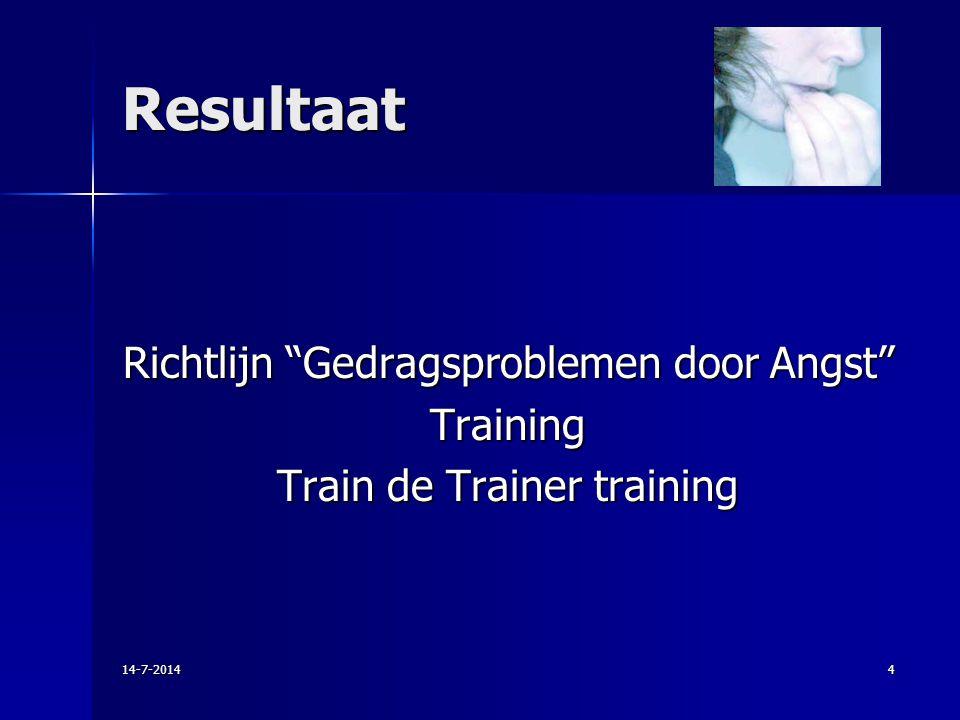 Resultaat Richtlijn Gedragsproblemen door Angst Training Train de Trainer training 4-4-2017