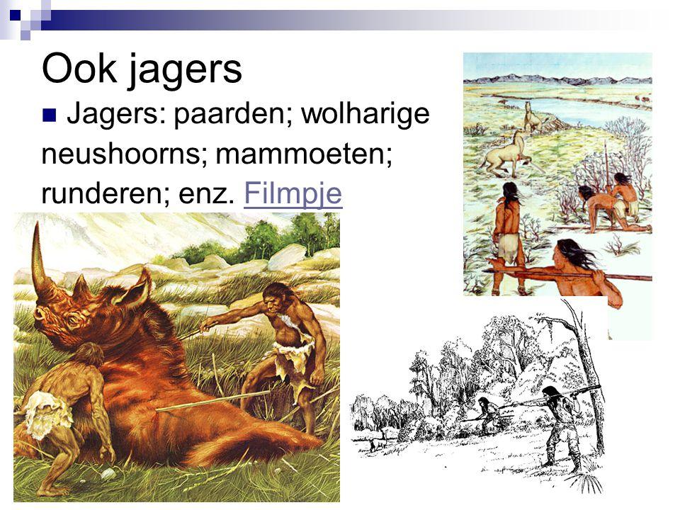 Ook jagers Jagers: paarden; wolharige neushoorns; mammoeten;