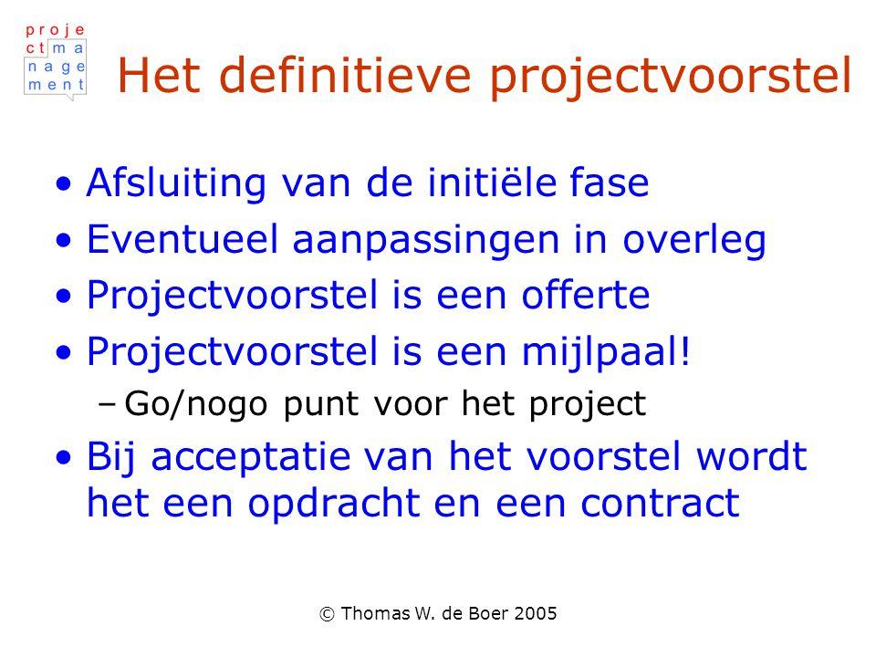 Het definitieve projectvoorstel