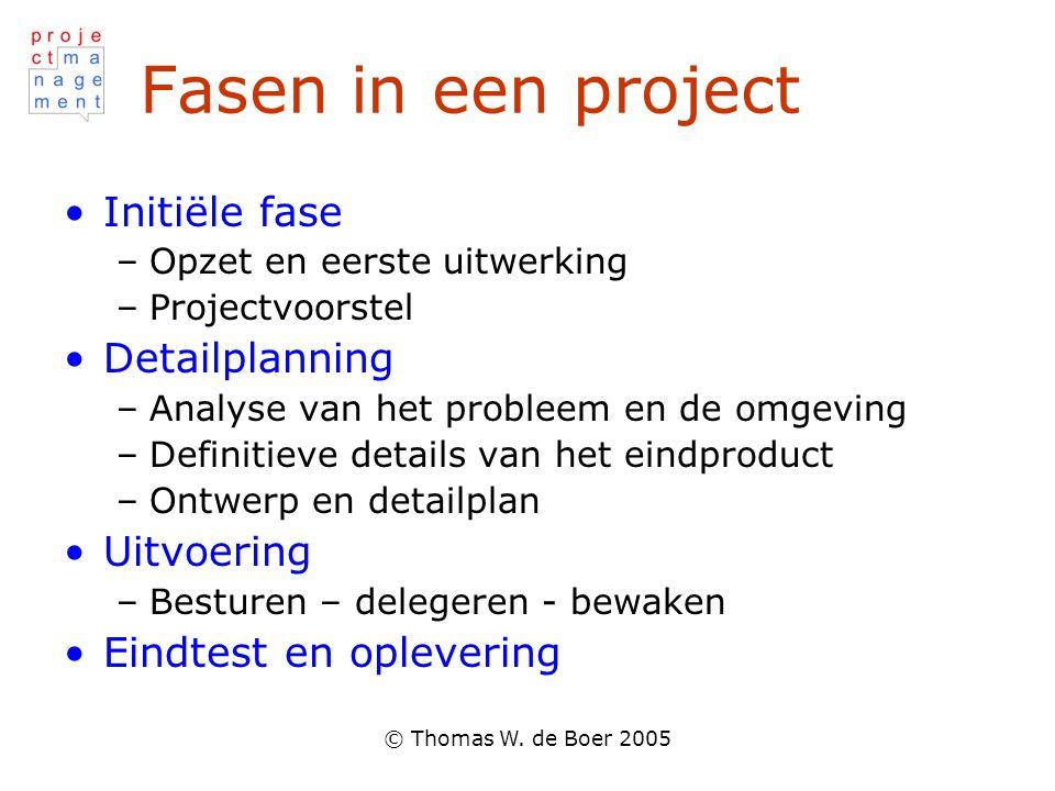 Fasen in een project Initiële fase Detailplanning Uitvoering