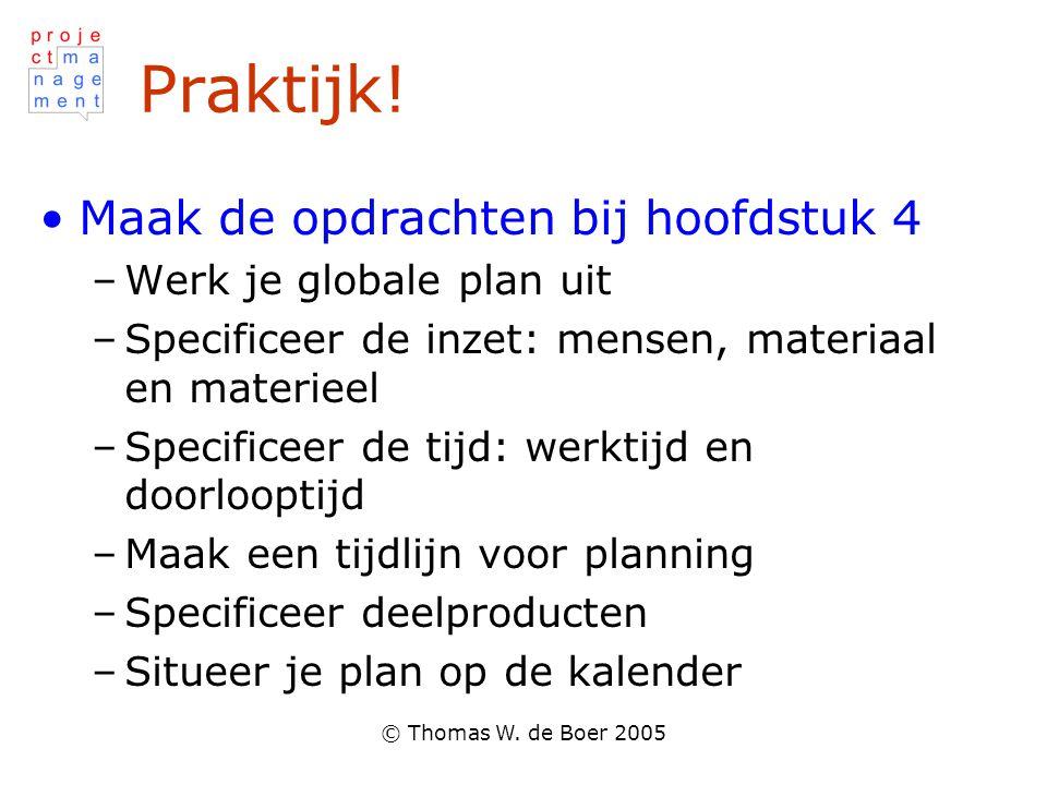 Praktijk! Maak de opdrachten bij hoofdstuk 4 Werk je globale plan uit